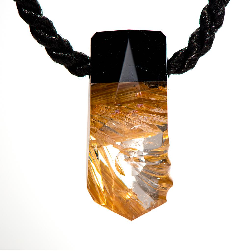 Quartz pendant with Gold Rutile